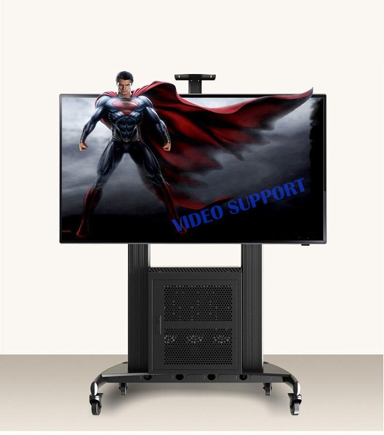 NB AVG1800 100 1P Aluminum Mobile Workstation TV Cart With G200 AV Cabinet and AVT1800 100 1P Fit 60 100 Flat Panel LED LCD TV