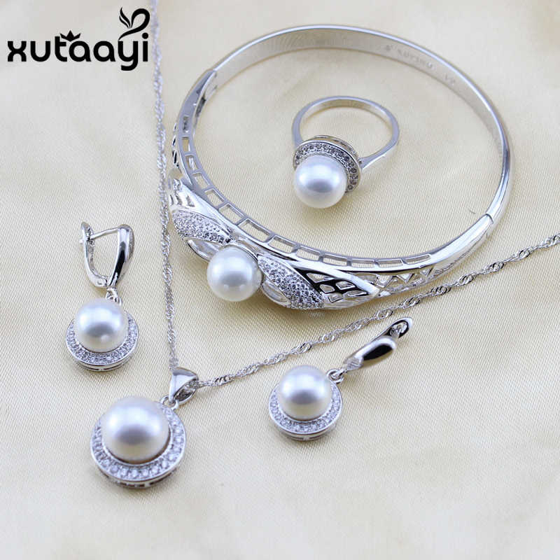 XUTAAYI White Simulated-Pearl White CZ 925 Sterling Silver Jewelry Sets For Women Necklace Pendant Drop Earrings Rings