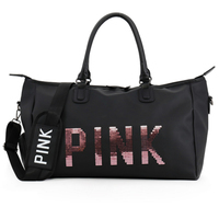 2018 Sequins Pink Letters Print Sport Bag Gym Bags Sports Women for Training Fitness Bag for Gym Small Large black sac de sport
