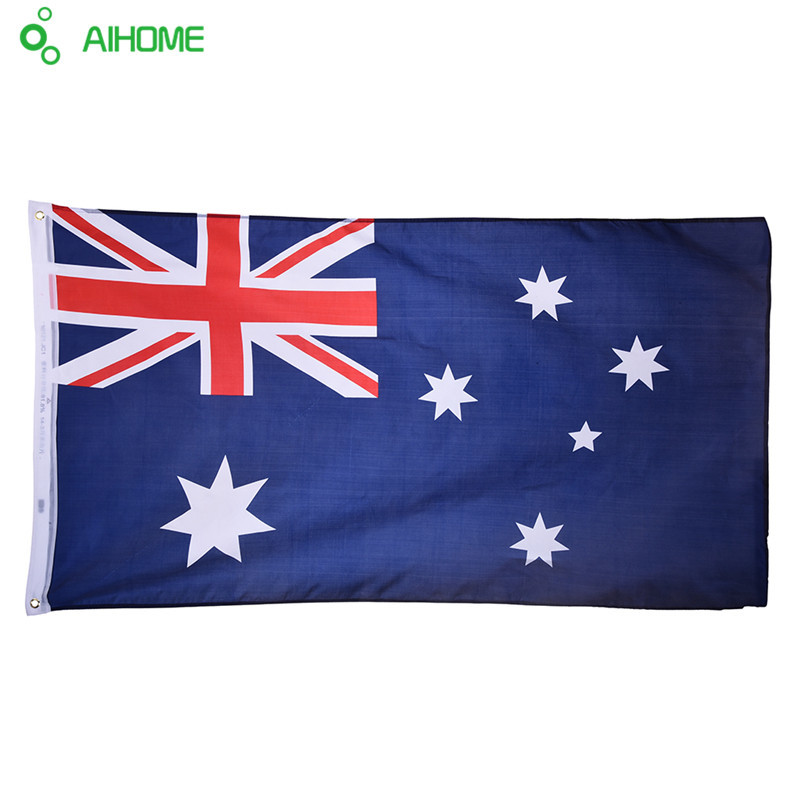 Australia <font><b>Flag</b></font> <font><b>90x150cm</b></font> Polyester Hand Waving Polyester Standard Aussie National Banner High Quality with Plastic Flagpoles Home image