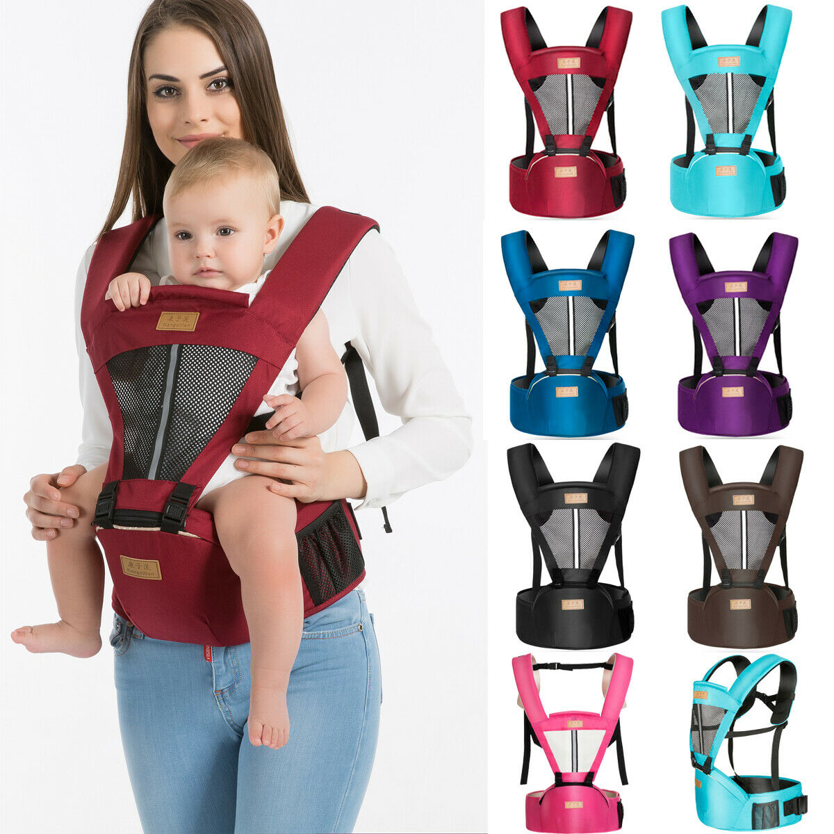 Portable Newborn Baby Carrier Toddler Kangaroo Sling Wrap And Hipseat For 0-36 Months