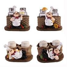 Купить с кэшбэком Minimalist Modern Creative Crafts Gifts Resin Ornaments Cute Cook Pepper Shakers Especiero Salt And Pepper Set Baharat Takimlari