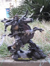 free shipping promotion cheap old art & antiques Bronze Fine Chinese bronze copper Guan Gong on horse Statue 14″H