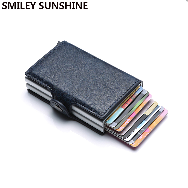 Antitheft Men id Bank Credit Card Holder Blocking Rfid Wallet Leather Security Information Aluminum Box Metal Purse cardholders