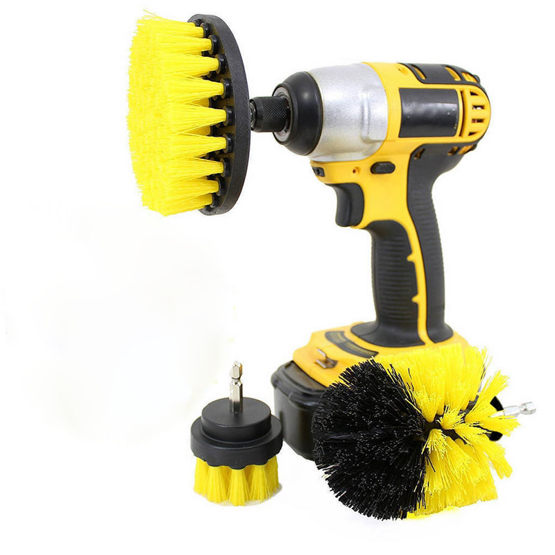 3pcs/set Electric Cleaning Brush Drill Brush Grout Power Scrubber Cleaning Brush Tub Cleaner Tool Scrubber Washing Brush Set