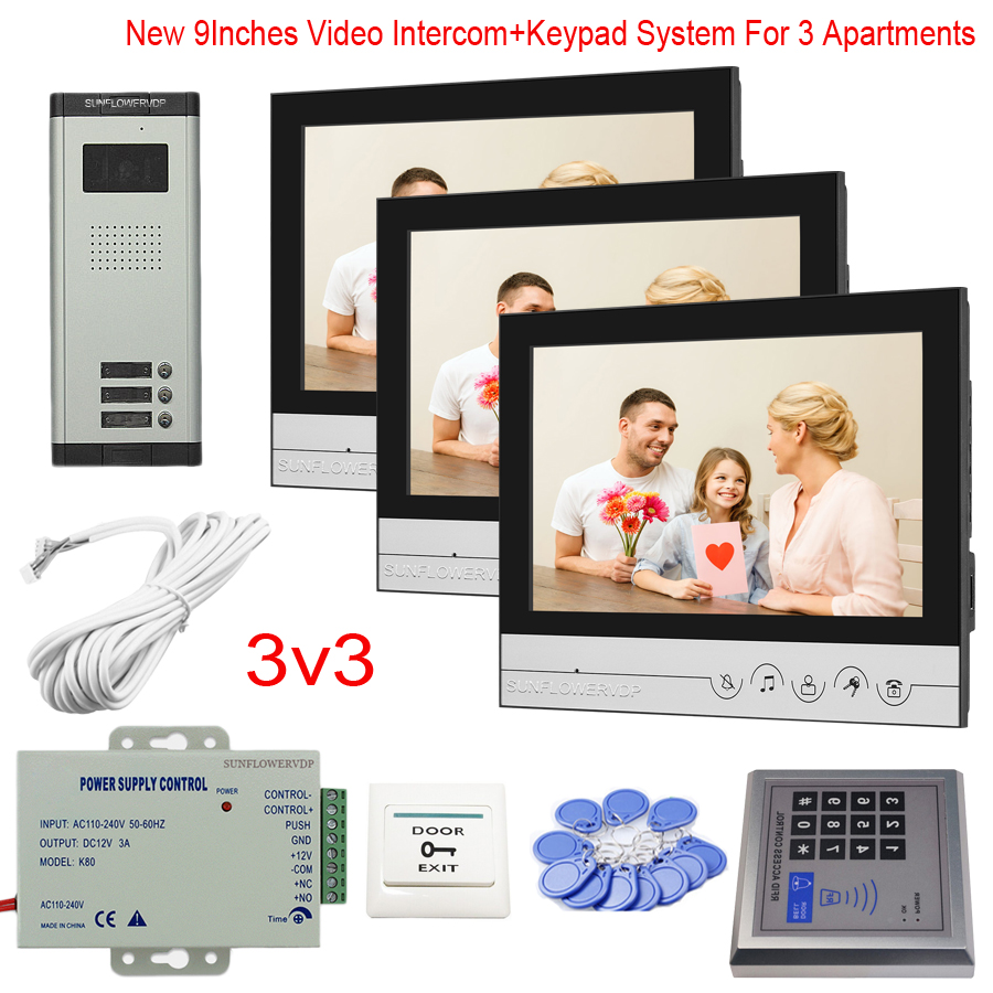 """Touch Key 9"""" Monitor Video Intercom For 2/3/4/5/6 Apartments Video Goalkeeper With Rfid Password Access Control System Kit"""