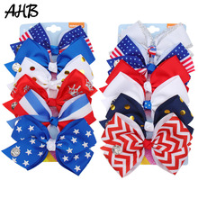 AHB 6Pcs/set 4th of July 5 Hair Bows for Girls Clips Stars/Striped/Dot Print Bowknot Independence Day Party Kids Headwear