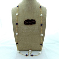 N092604 40 White Rice Pearl Titanium Crystal Drusy crystal Chain Long Necklace