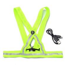 2016 Nouvelle arrivée durable qualité fluorescent vert USB de charge LED bretelles gilet réfléchissant vêtements de sécurité