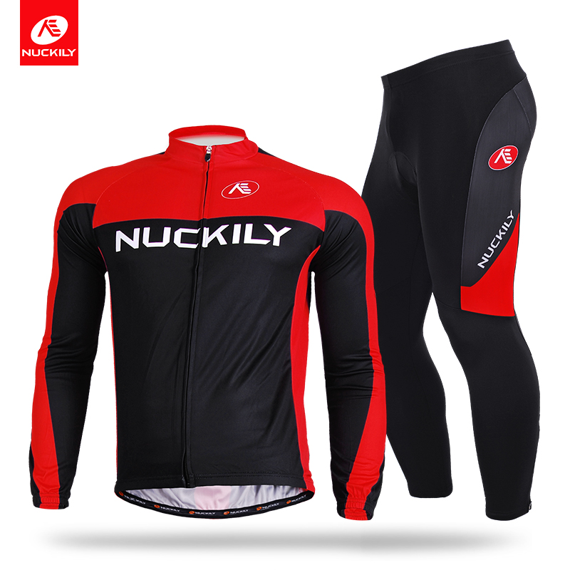 NUCKILY Winter Cycling Sets Powerful Thermal Bike Long Jersey And Cycle Tights Polyester Sports Apperal For Men ME010MF010