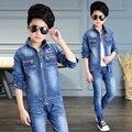 2017 весна осень детская мода ковбой костюм 4-13 лет мальчик сплошной цвет классический синий молнии карманные царапины из двух частей