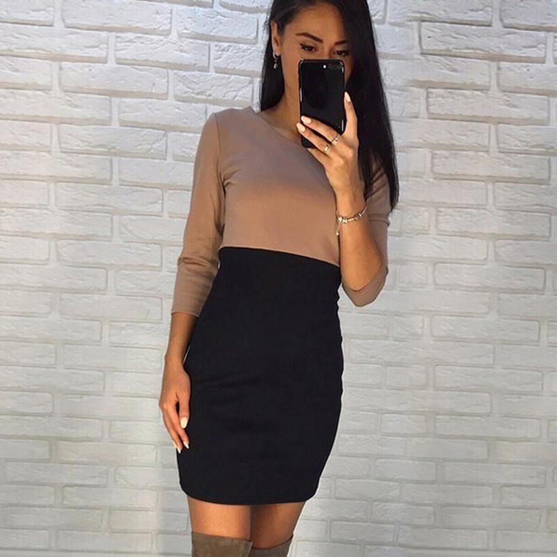 Skinny Mini Vestito Delle Donne Elegante Manicotto Dei Tre Quarti Vestito Autunno Inverno 2017 Vintage Pullover Vestito Aderente WS3267E