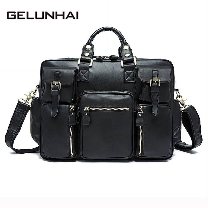 2017 Sale Gelunhai Genuine Leather Men Bags New Male Briefcase Man Laptop Bag Crossbody Shoulder Handbags Men's Messenger8812