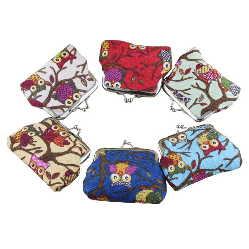 Fashion Printing Canvas Women Coin Purse Cute Owl Pattern Hasp Mini Coin Wallet Woman Portable Money Bag Key Coin Pouch Case