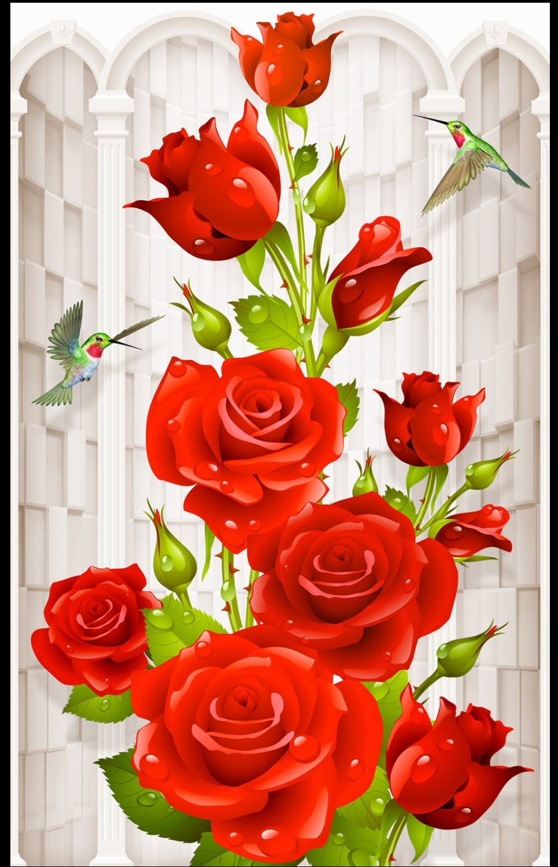 Custom Photo Wallpaper 3D European Beautiful Romantic Hummingbird Rose Porch Background Wall Painting Wallpaper