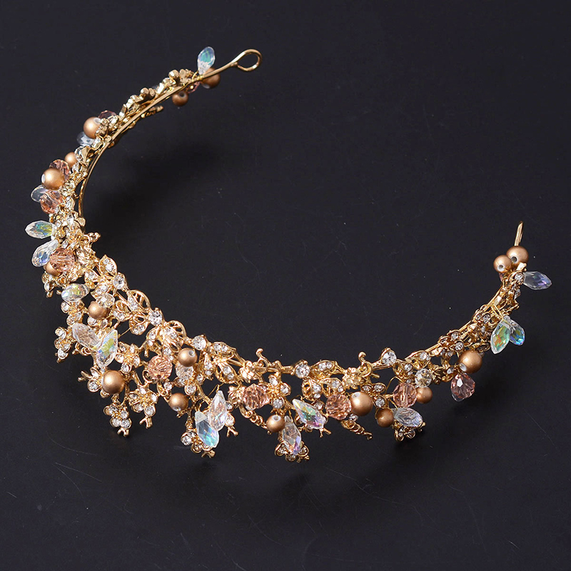 Fashion Magnificent Diadem Clear Crystal Bridal Tiaras Flower Wedding - მოდის სამკაულები - ფოტო 4