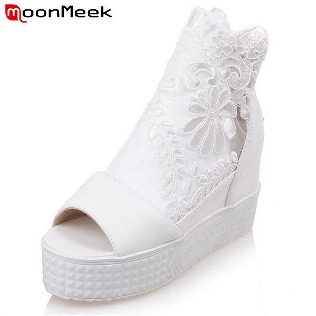 MoonMeek Peep toe плоские туфли на платформе по контракту красивый молнии женская обувь лето большой размер 34-40 партия обуви