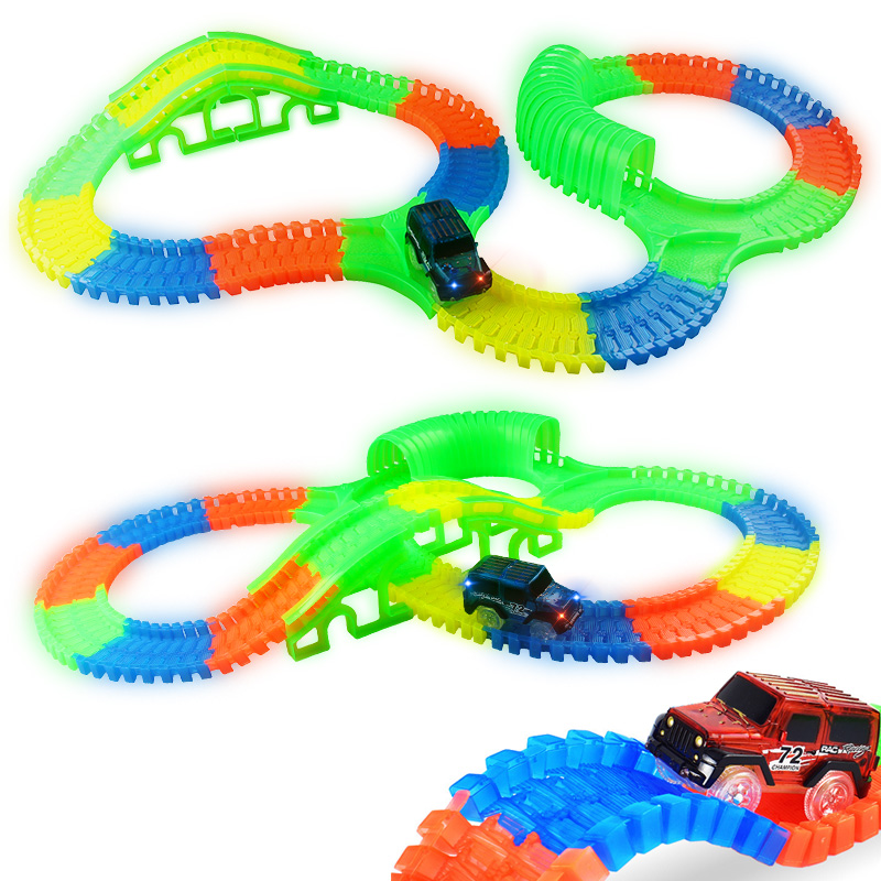 300/150 PCS Bend Flexible Curve Slot DIY Track Toy Set with glows in the dark Track LED light Racing Car Toys for children kids