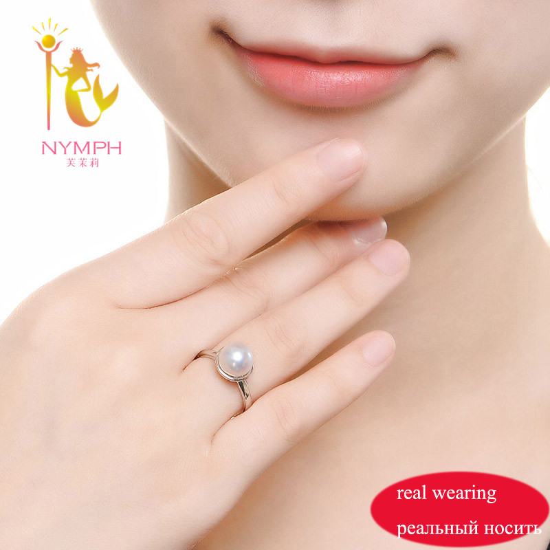 NYMPH Pearl Ring For Women Pearl Jearly Real Freshwater Pearl Rings White Natural Pearl Ring [NYMPH] Pearl Ring For Women Pearl Jearly Real Freshwater Pearl Rings White Natural Pearl Ring For Party  Fine Jewerly R74