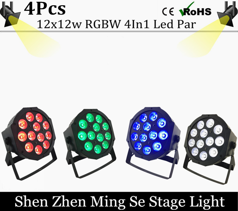 4pcs/lots 12w led  lamp beads 12x12W led Par lights RGBW 4in1 flat par led dmx512 disco lights professional stage dj equipment 2pcs dj disco par led 54x3w stage light dmx strobe flat luces discoteca party lights laser rgbw luz de projector lumiere control