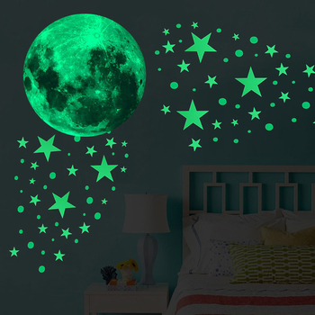New 435Pcs/set Glow In The Dark Stickers Waterproof vinyl material  Luminous Moon Dots Stars Wall Ceiling Decal bedroom decor 1
