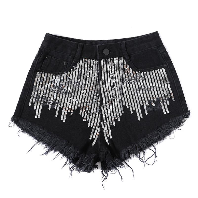 Heavy Sequins Fringed Edging Wide Leg Black Denim Shorts Women