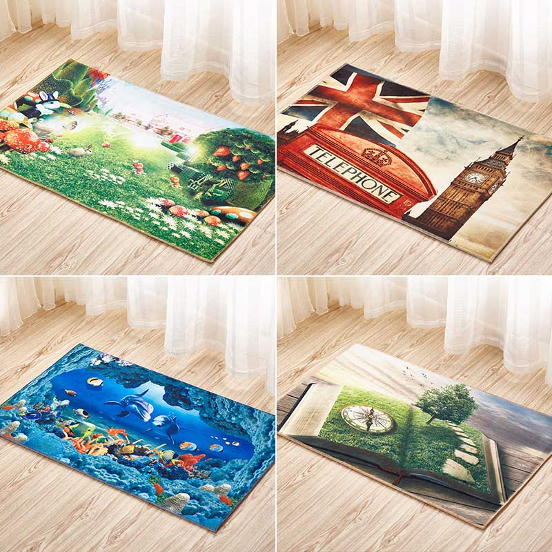 Fashion 3D Scenery Printed Carpet For Living Room Bedroom Floor Mat Kitchen Rugs  Entrance Doormats Rectangle