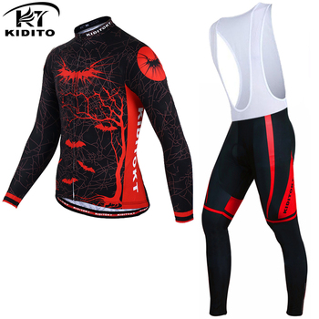 KIDITOKT Winter Thermal Fleece Cycling Jersey Sets Keep Warm Cycling Clothing Anti-sweat Mountain Bike Cycling Clothes For Men