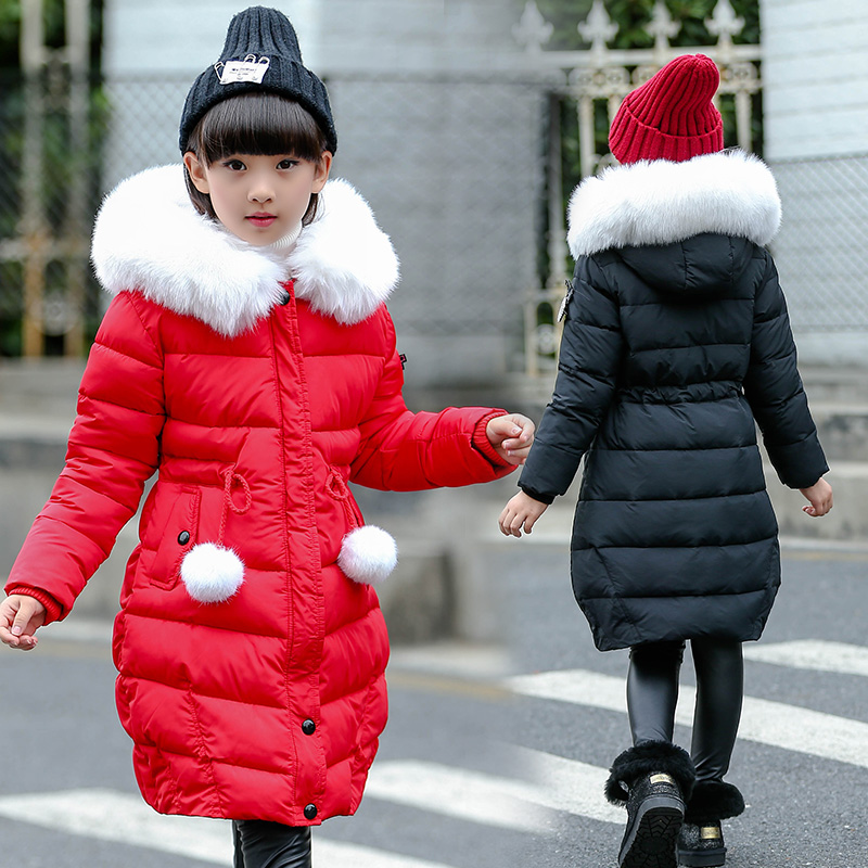 FYH Kids Clothing Winter Girls Parka Xmas Style Children Big Fur Hooded Outerwear Girls Cotton-padded Warm Thicken Down Jacket winter jacket female parkas hooded fur collar long down cotton jacket thicken warm cotton padded women coat plus size 3xl k450