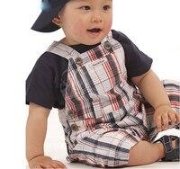 Barato-infantil-ropa primero cumpleaños trajes traje ropa de recién nacido ropa de bebé de 3 6 meses de verano conjunto niño a cuadros traje de overol