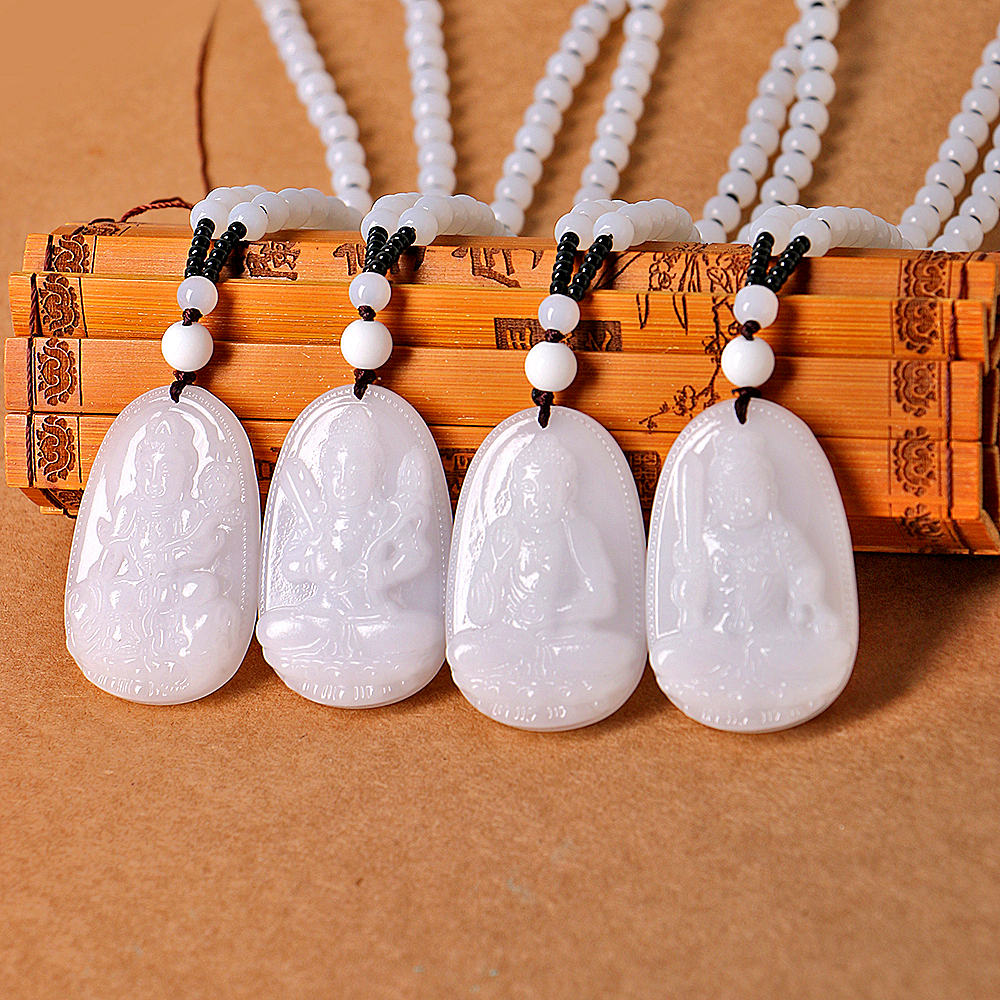 Lucky Carved Oval Natural White Jade Peony Flower Pendant