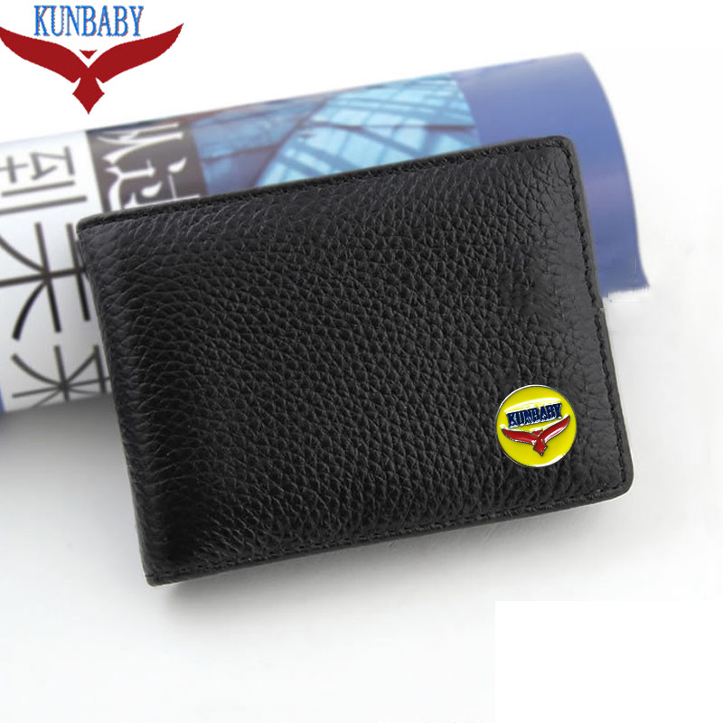 KUNBABY Black Leather Car logo Bag Card Package Driver License For All Cars Car Styling