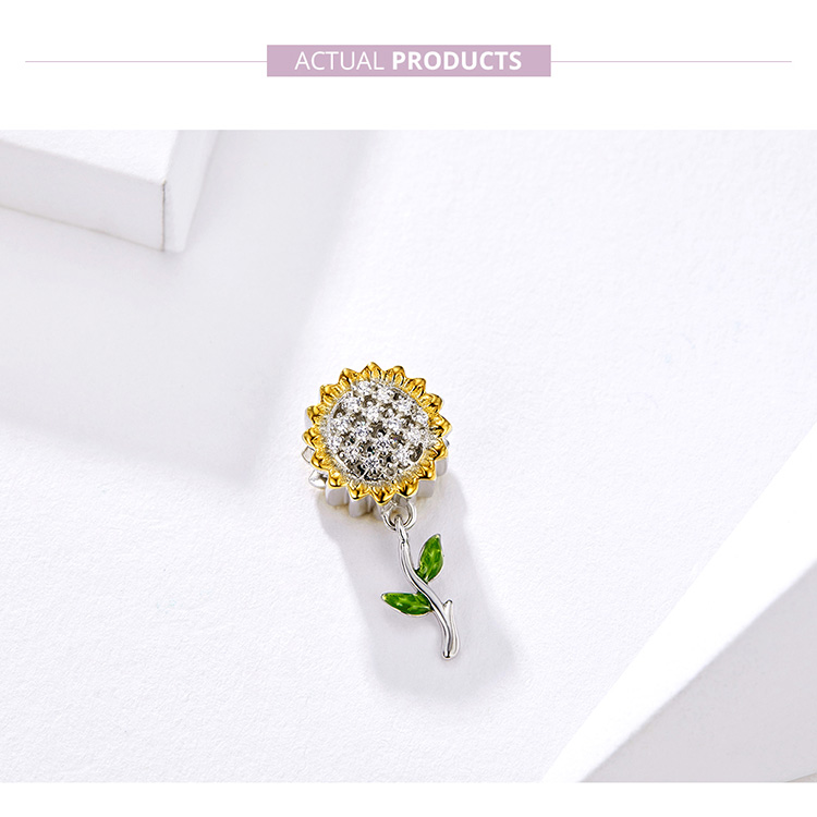 HTB1yeyZUzDpK1RjSZFrq6y78VXa5 BAMOER Gold Color Sunflower Charm for Women Silver Bracelet 925 Sterling Silver Enamel Leaf Beads DIY Jewelry Accessory SCC1211