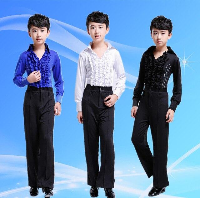 a2db8b6db Dance costumes for boys kids latin dancing pants+shirt dance ear boy  ballroom dance costumes