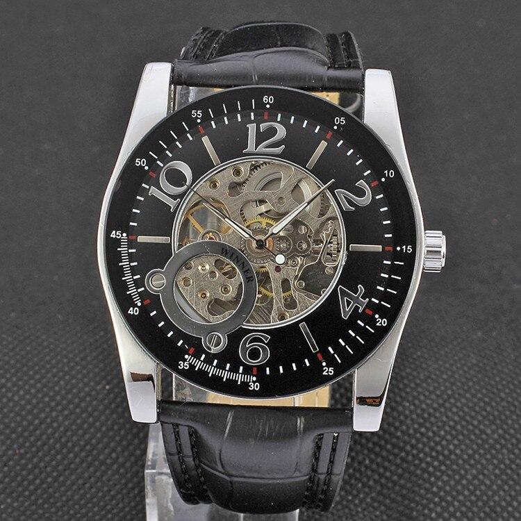 Vencedor clássico árabe número relógio preto bezel