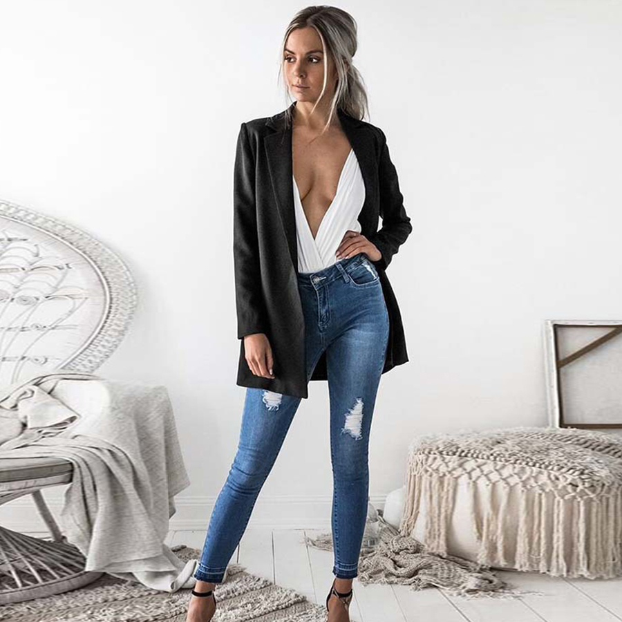 Women Blazers Black Suit Cardigans Autumn Winter Office Lady Solid Slim Business Blazers Plus Size Fashion Jackets High Quality