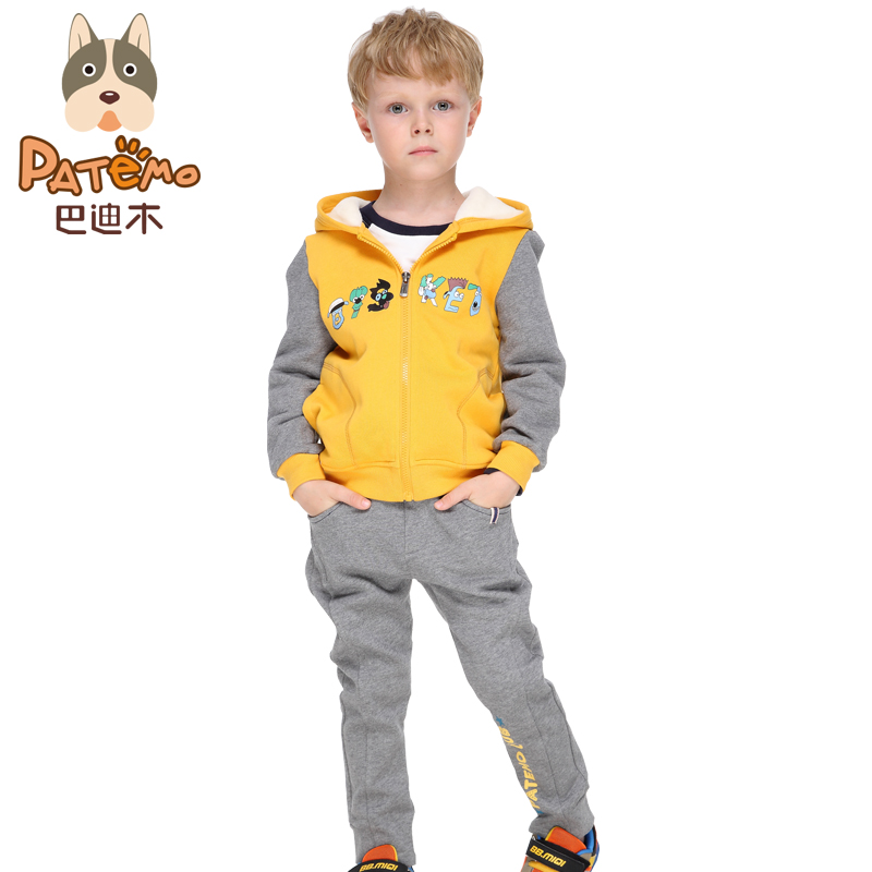 PATEMO Children Boy Sets Autumn Yellow font b Hoodies b font Zipper and Elastic Waist Full