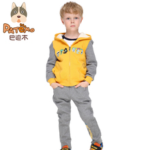PATEMO Children Boy Sets Autumn Yellow Hoodies Zipper and Elastic Waist Full Length Pants Gray Knitted Fabric Cotton Kid Cloting