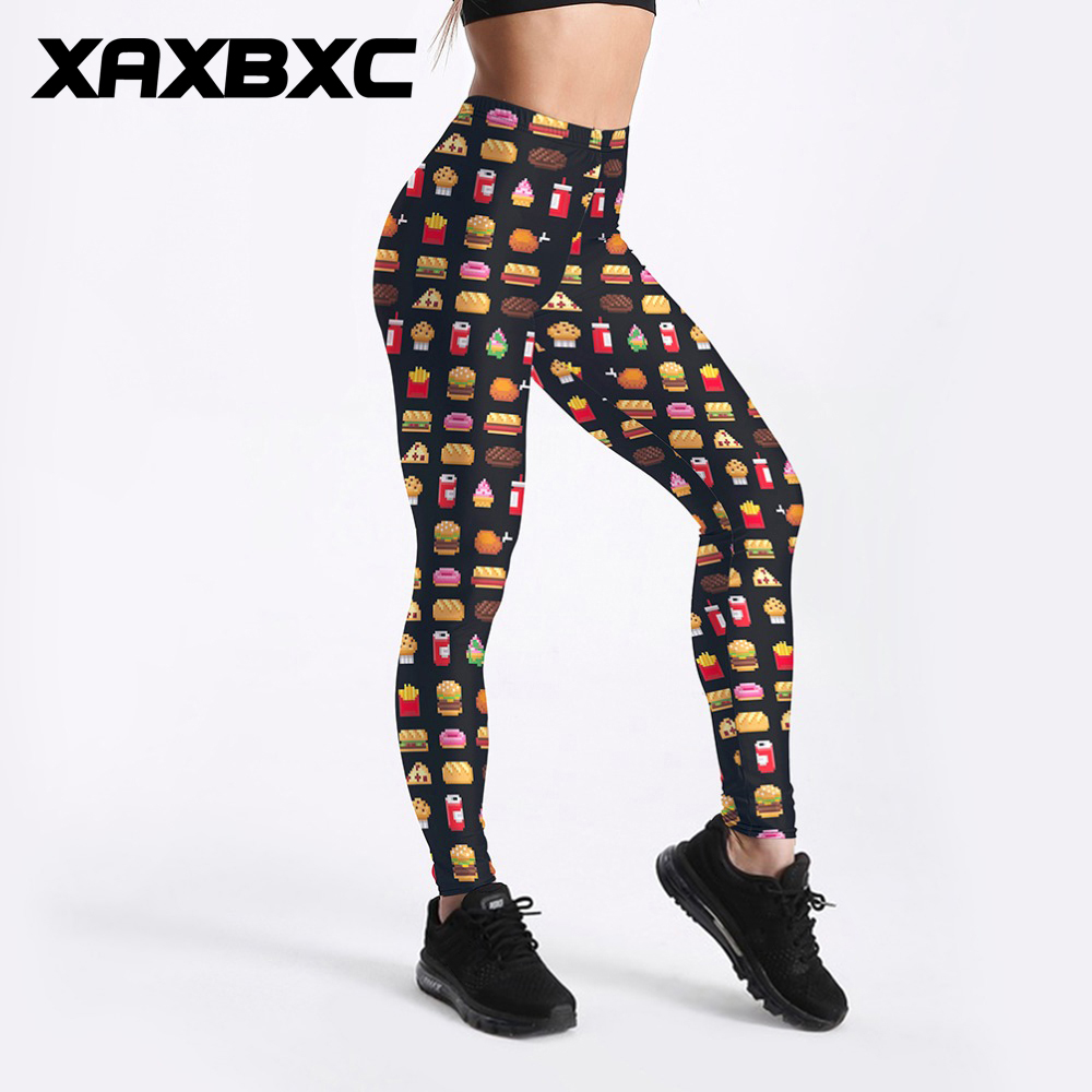 XAXBXC 3480 Sexy Girl Pencil Pant Junk food Chips Hamburger Emoji Prints Elastic Slim Fitness Workout Women Leggings Plus Size