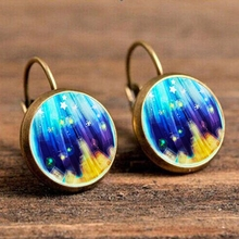 City Blue Space Star & Mandala Flower Drop Earring Vintage Kaleidoscope Resin Ear Drop Antique Gold Color Wholesale Brincos 2018 vintage kaleidoscope flower drop earring for women blue purple indian mandala pattern round eardrop wholesale brincos 2018