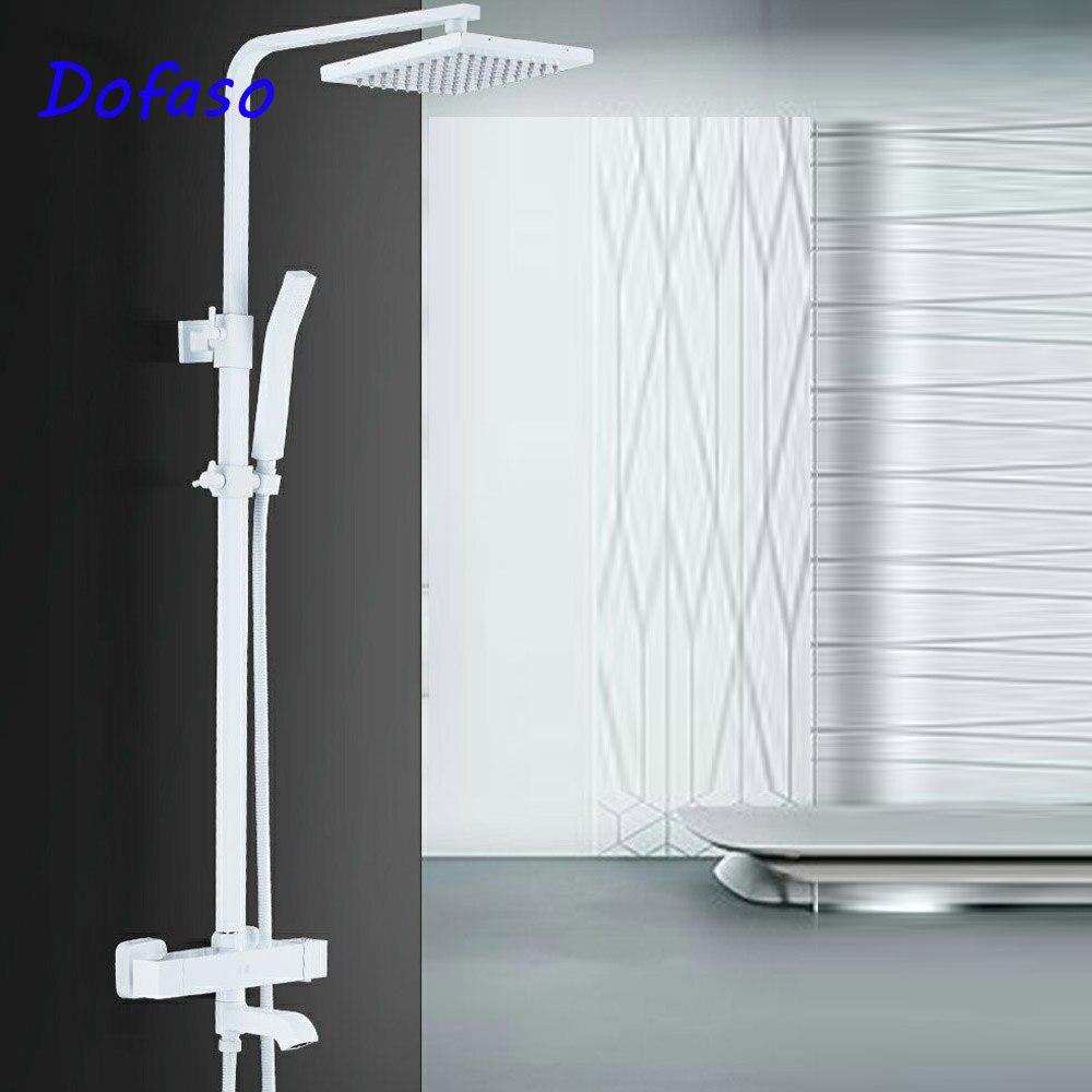 Dofaso vintaage salle de bains robinet de douche ensemble blanc baignoire robinet mitigeur Thermostatique Robinets de douche bain Douche système