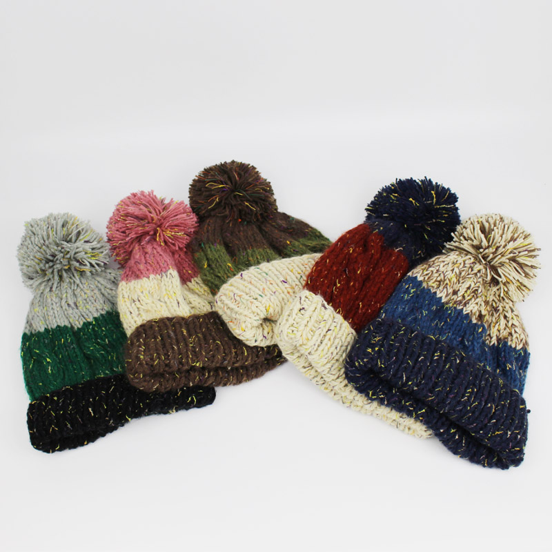 809a325927f Brand Winter Beanies For Women Knitted Acrylic Hat Mix Colors Skullies Beanies  Knit Big Pompom Caps Female Winter Hat Bone Gorra-in Skullies   Beanies  from ...