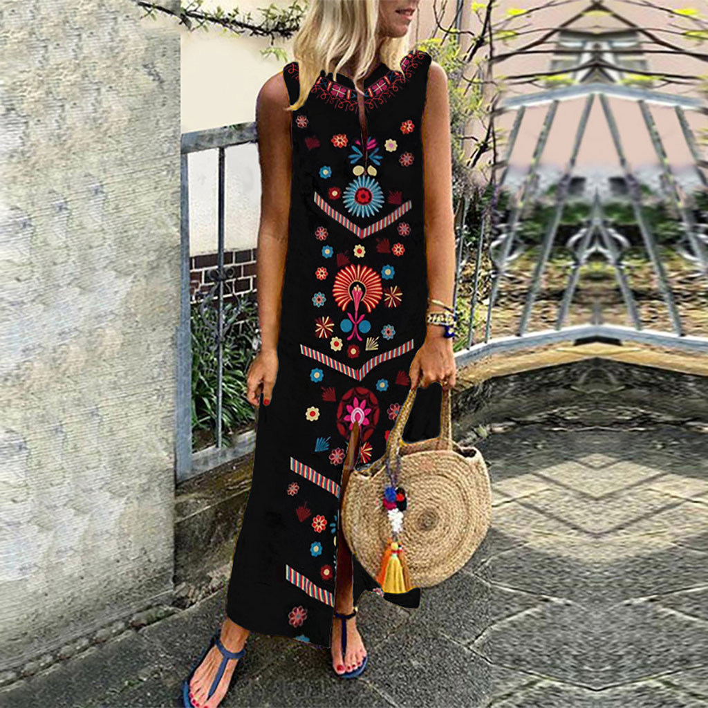 96a1f521994 Народный обычай Цветочный принт Для женщин летние длинное платье  повседневные Boho Стиль разрез свободные женские макси