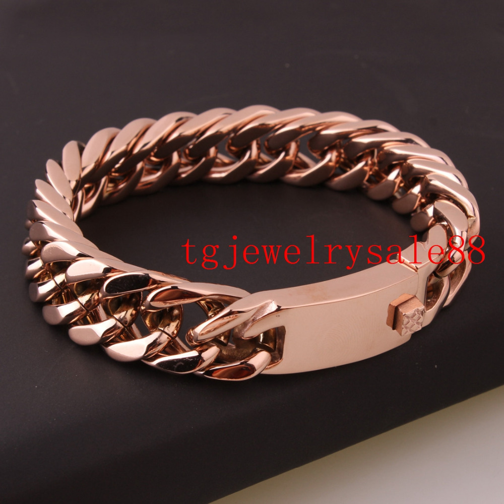 Fashion Charm Rose Gold Cuban Curb Link Chain Bracelet 15mm Stainless Steel  Biker Mens Bangle Cuff