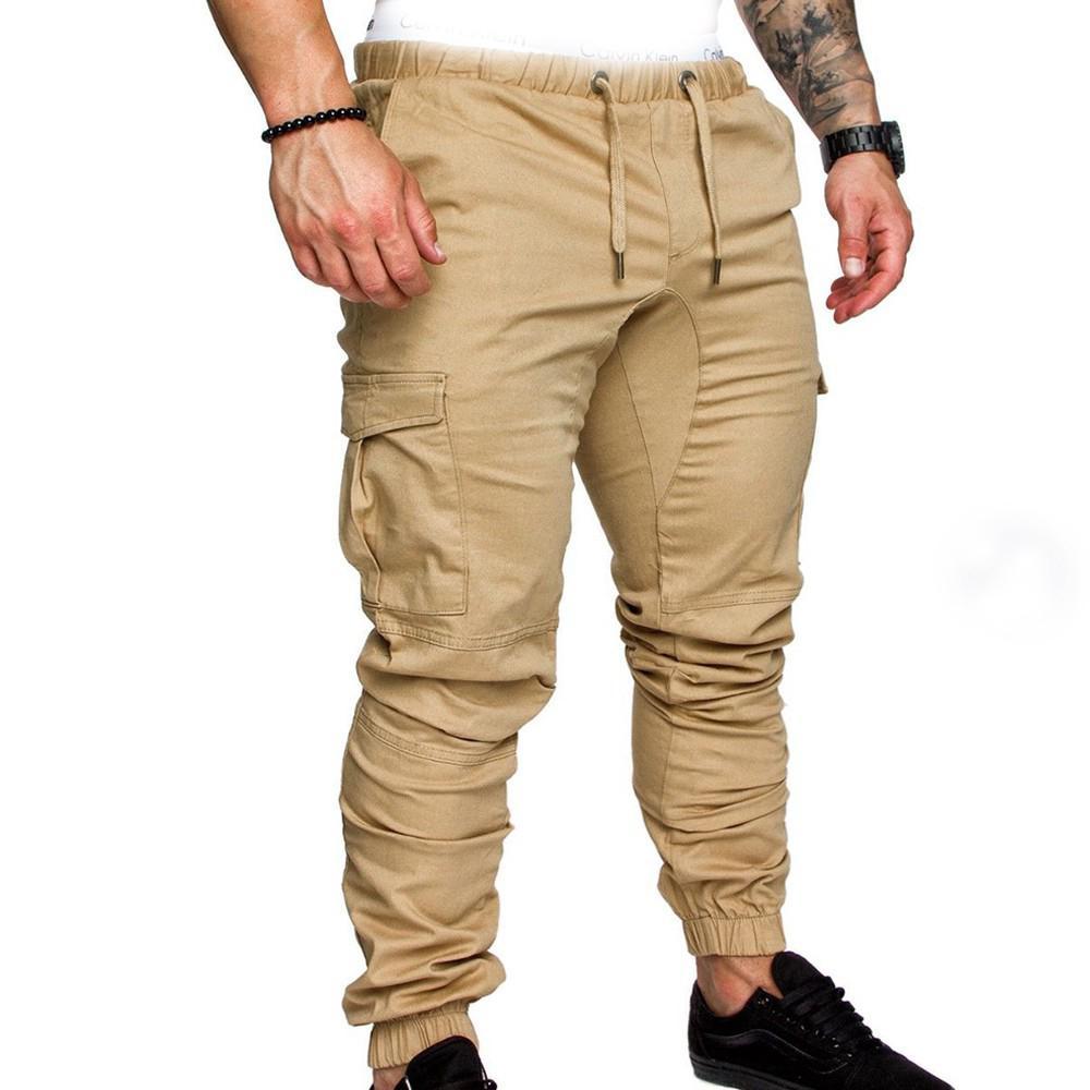 Men Stylish Casual Multi Pocket Long Trousers Ankle Banded Pants Big Size XXXL Long Pant SAN0