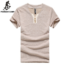 Pioneer Camp Free shipping men t shirt environmental cotton hemp casual slim solid t-shirts male thin and short sleeve