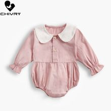 Chivry 2019 Toddler Baby Kids Girls Bodysuit Solid Peter Pan Collar Long Sleeve Playsuit Clothes Newborn Overalls Jumpsuit