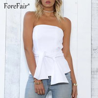New Fashion Casual Summer Tops Women Strapless Backless Zipper Lace Up Bow Top White Black Sexy