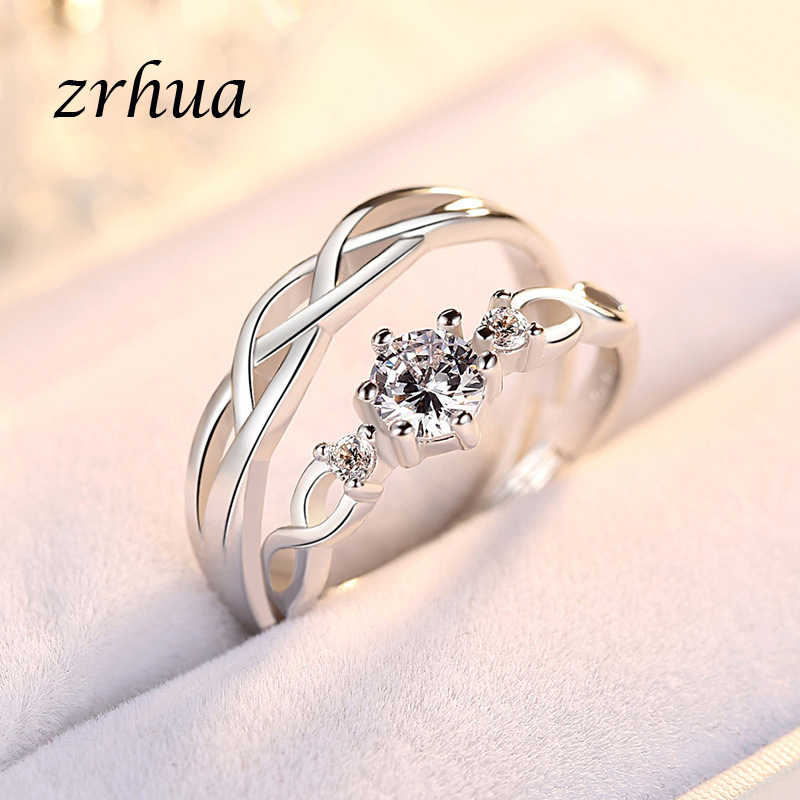 Zrhua 925 Bạc Rainbow Nhẫn Nữ Opal Thời Trang CZ Cưới Trang Sức Khắc 925 Nam Nữ Đính Hôn LỜI HỨA Nhẫn Cặp Đôi Anillos