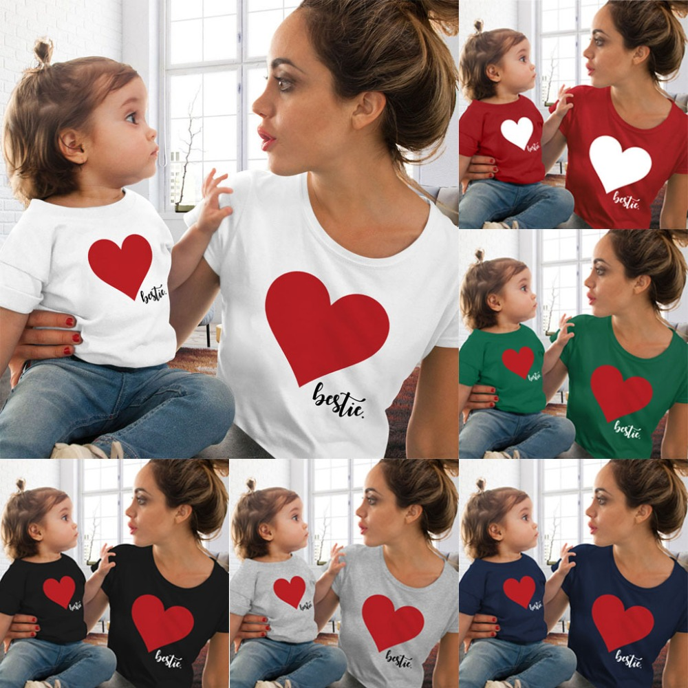 Mommy And Me Clothes Family Matching Outfits Heart Printed Cotton Cute T-Shirts Tops Lovely Tees Mother And Daughter Clothes Tee